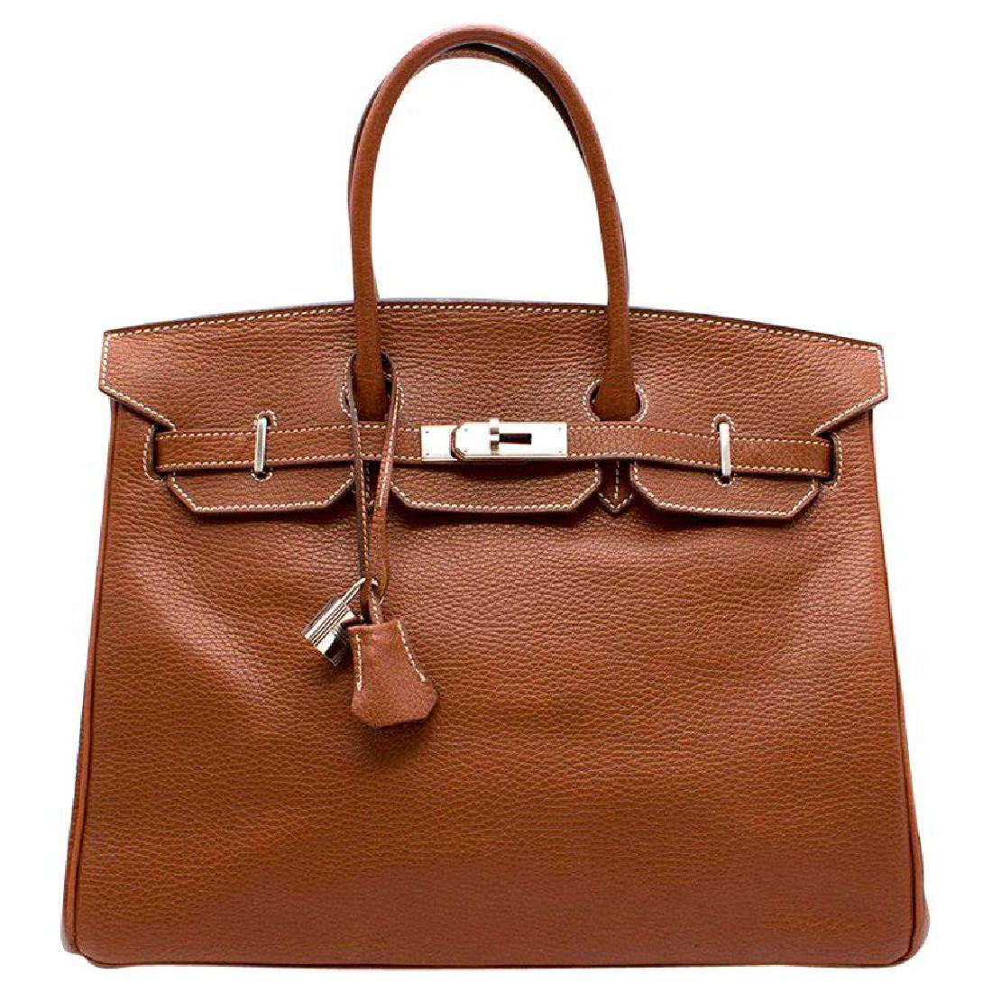Hermes Miel Clemence Leather Birkin Bag 35cm
