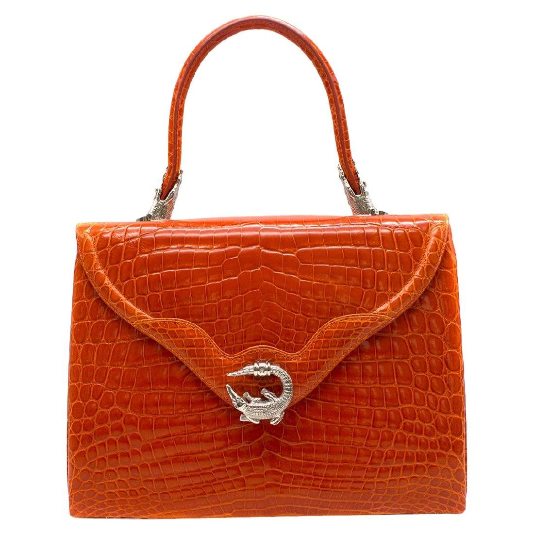 Kwanpen Orange Crocodile Leather 5568 Signature Handbag