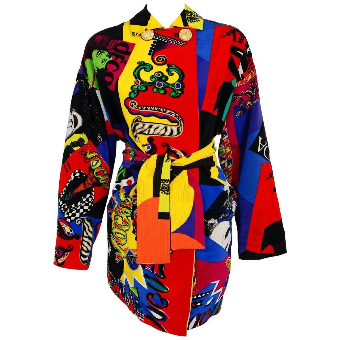 Versace Couture Colorful Vogue Print Reversible Belted