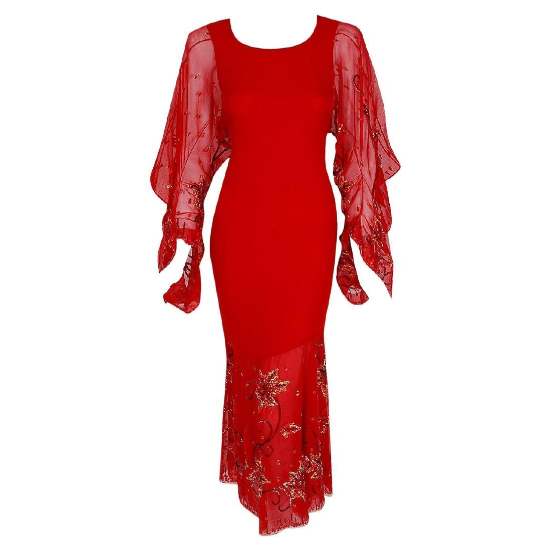 2003 Christian Dior Haute-Couture Red Beaded Silk