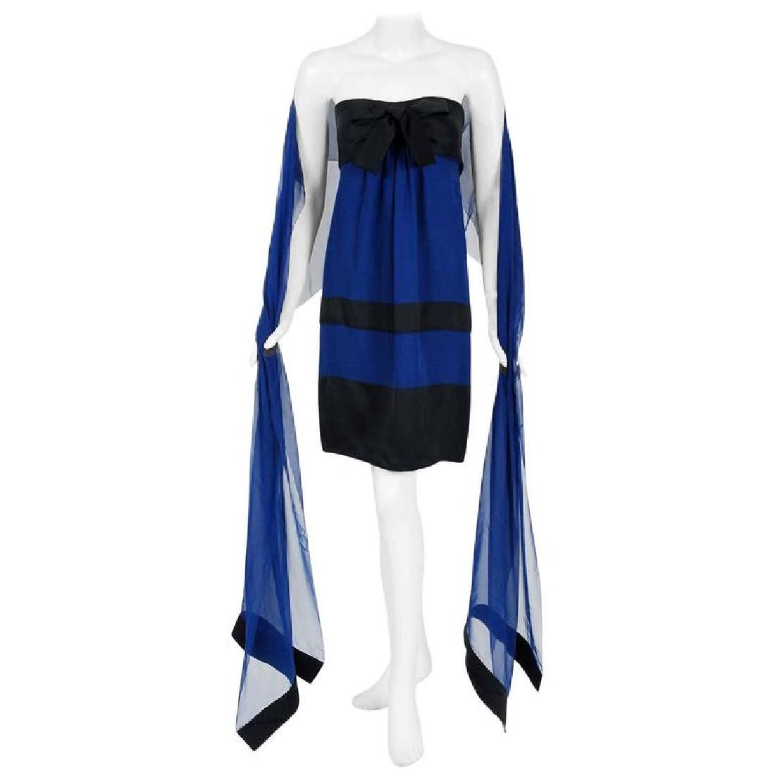 1992 Chanel Sapphire-Blue and Black Silk Strapless Bow