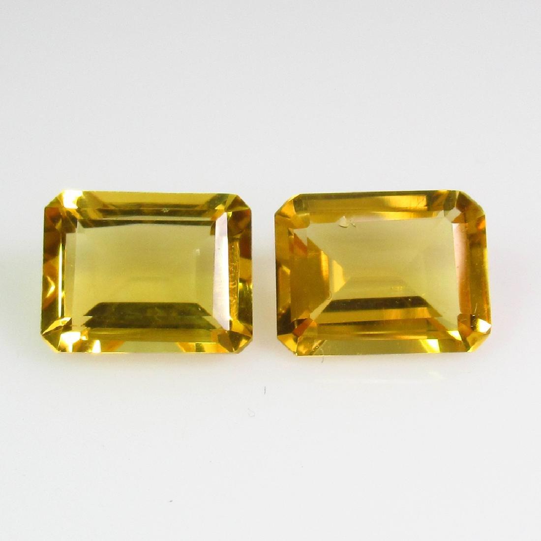 3.79 Ct Genuine Yellow Citrine 9X7 mm Emerald Pair