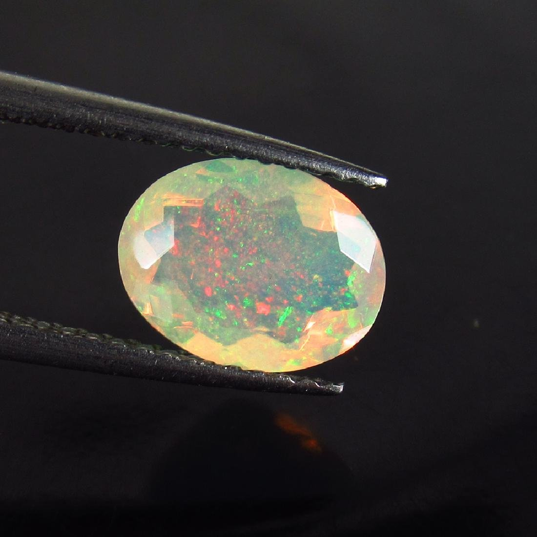 1.17 Ctw Natural Ethiopian Faceted Opal 9X7 mm Oval Cut