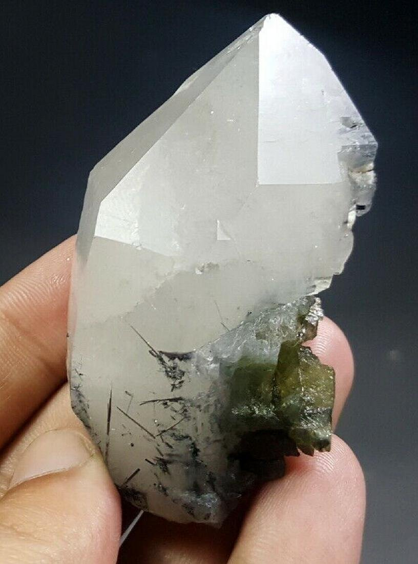 91 Grams Beautiful Etched Green Tourmaline On Quartz W/