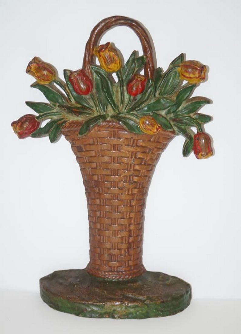 Tulip Flowers in Basket Cast Iron Hubley Doorstop