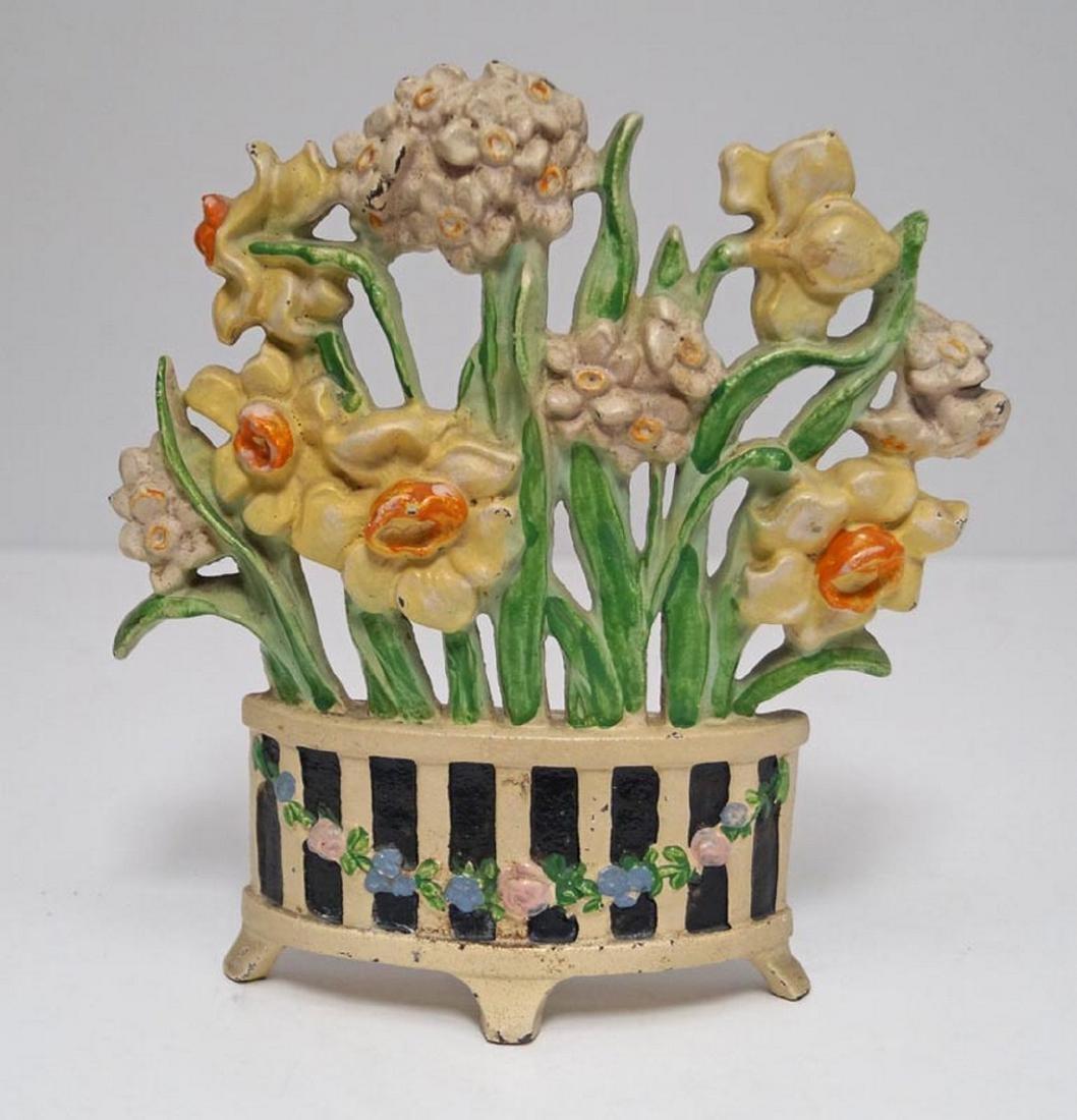 Antique Narcissus Cast Iron Hubley Doorstop