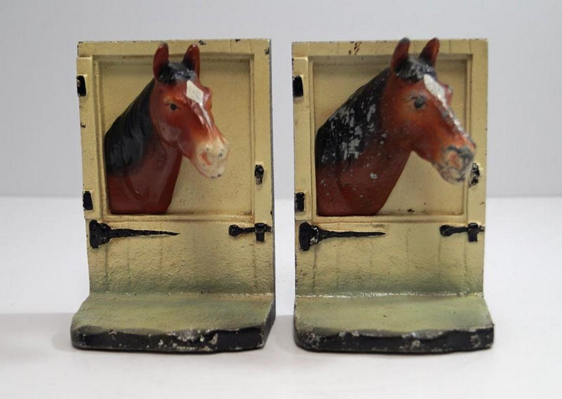 Horse at Barn Stall Door Cast Iron Bookends