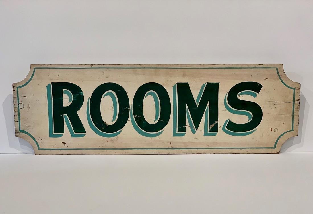 c. 1930s ROOMS sign