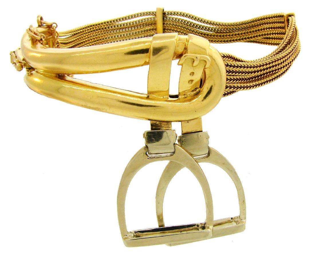 HERMES 18K Gold Equestrian Buckle BRACELET Vintage