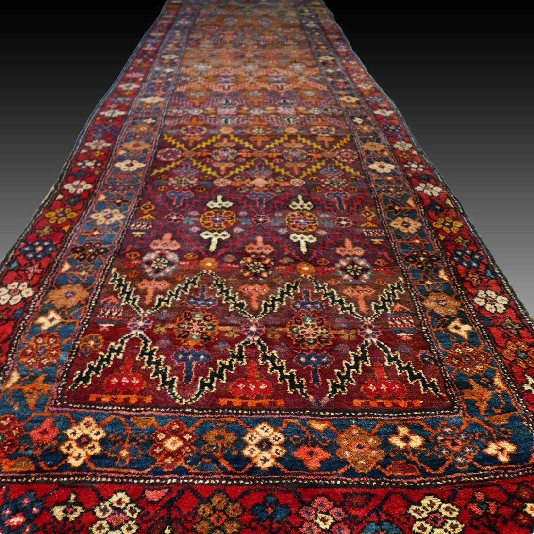 Impressive antique tribal Kazak runner - 13.2 x 3.8 -
