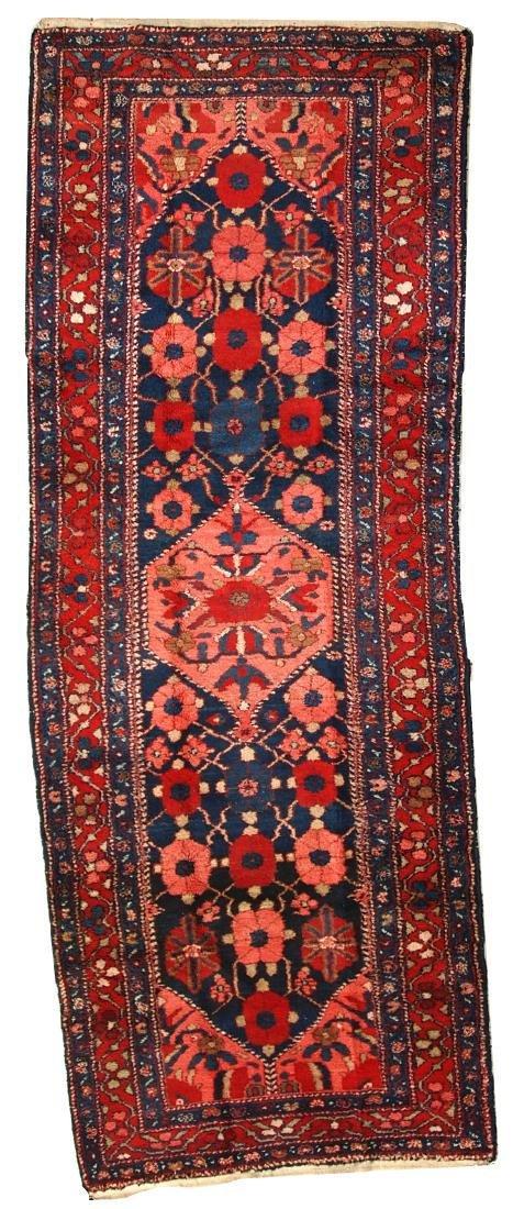 Handmade antique Persian Hamadan runner 3.7' x 9.8' (
