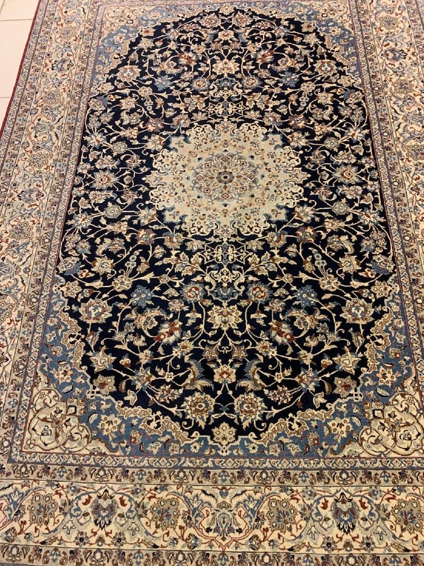 Semi Antique Hand Woven Persian Rug Nain 6Ls Silk&Wool