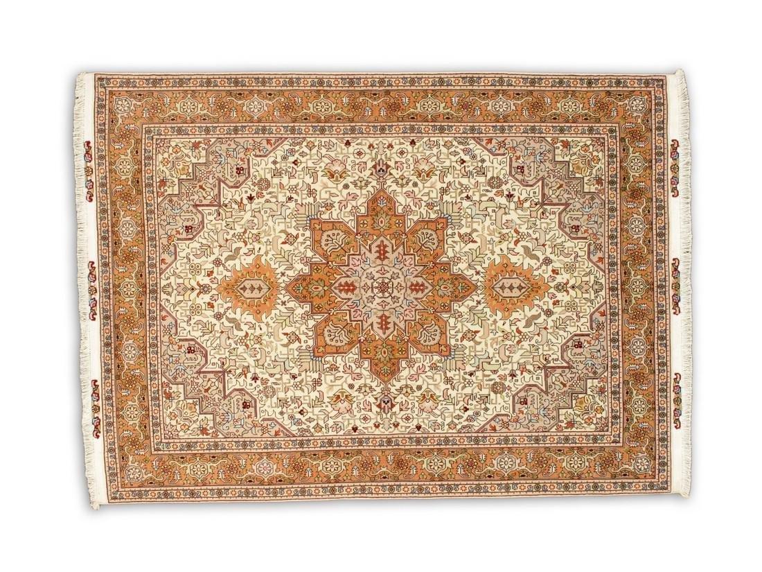 5 x 7 Semi-Antique Wool & Silk Persian Tabriz Rug