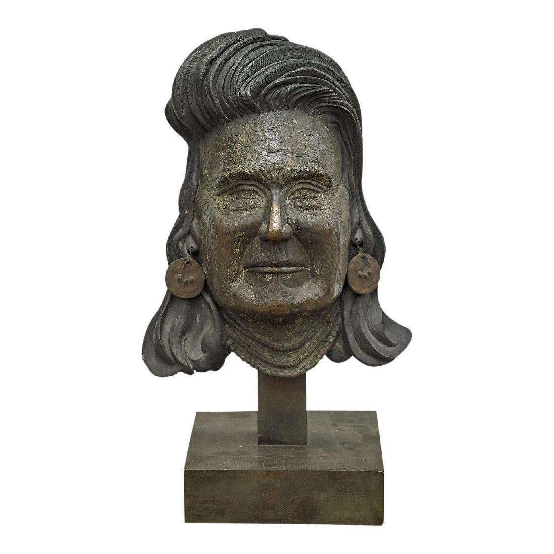 Large Bronze Sculpture Bust of a Native American Indian