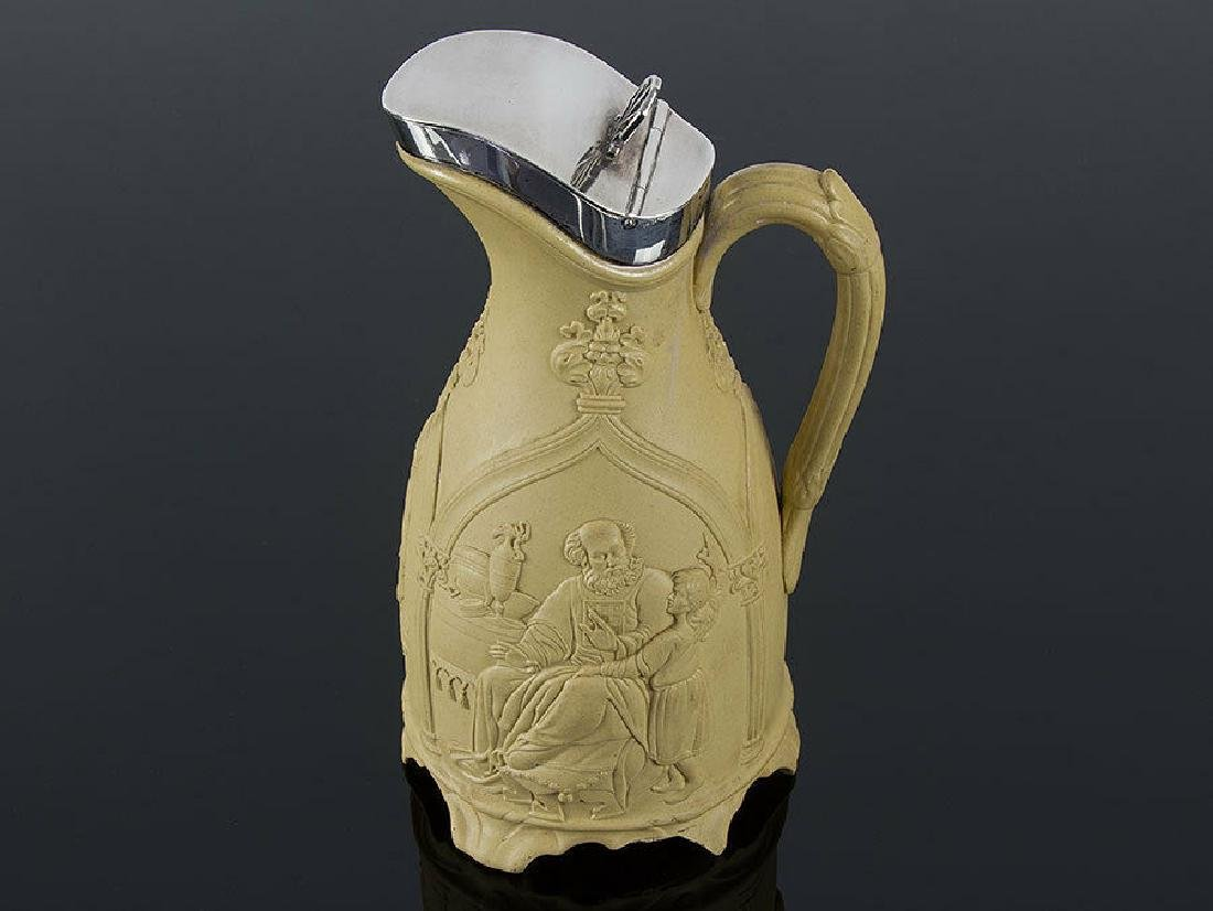 1848 Gothic Style Stoneware Jug with Silver Lid