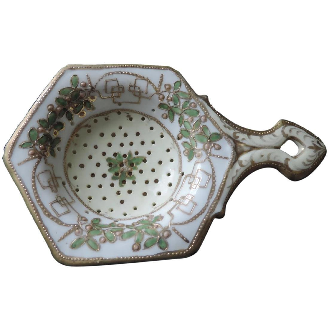Nippon Hand Painted Tea Strainer and Drip Cup