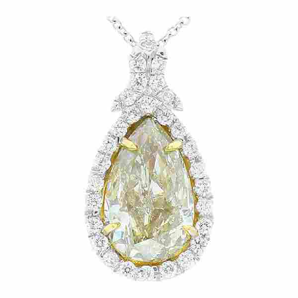 GIA Certified 2.53 Carat Pear Shape Fancy Light Yellow