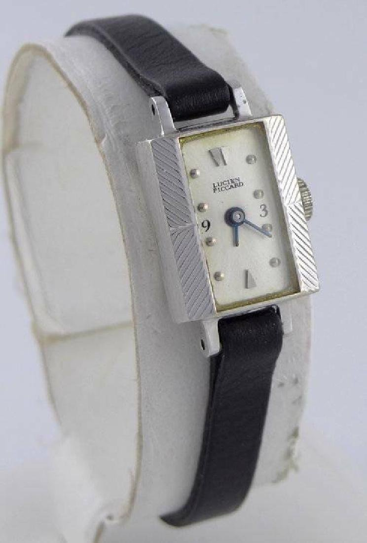 LADIES VINTAGE LUCIEN PICCARD 14K WHITE GOLD BLACK