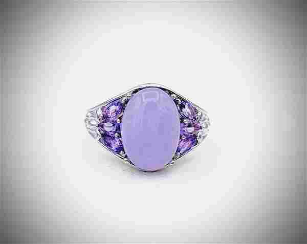Sterling Silver Sz 9 Violet Jade & Amethyst Ring