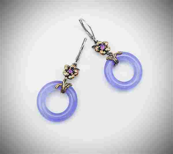 Sterling Silver Violet Jade Dangly Earrings w Pink