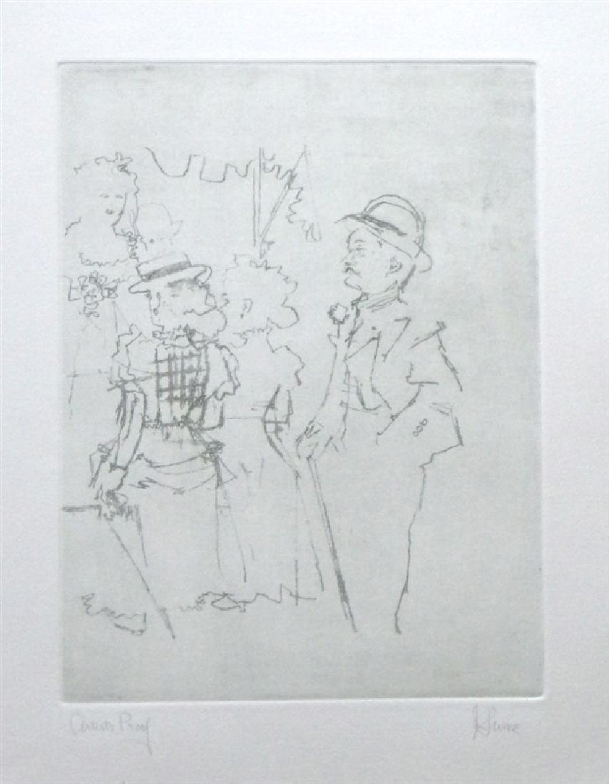 "Jack Levine signed original etching ""Mack sees Polly"