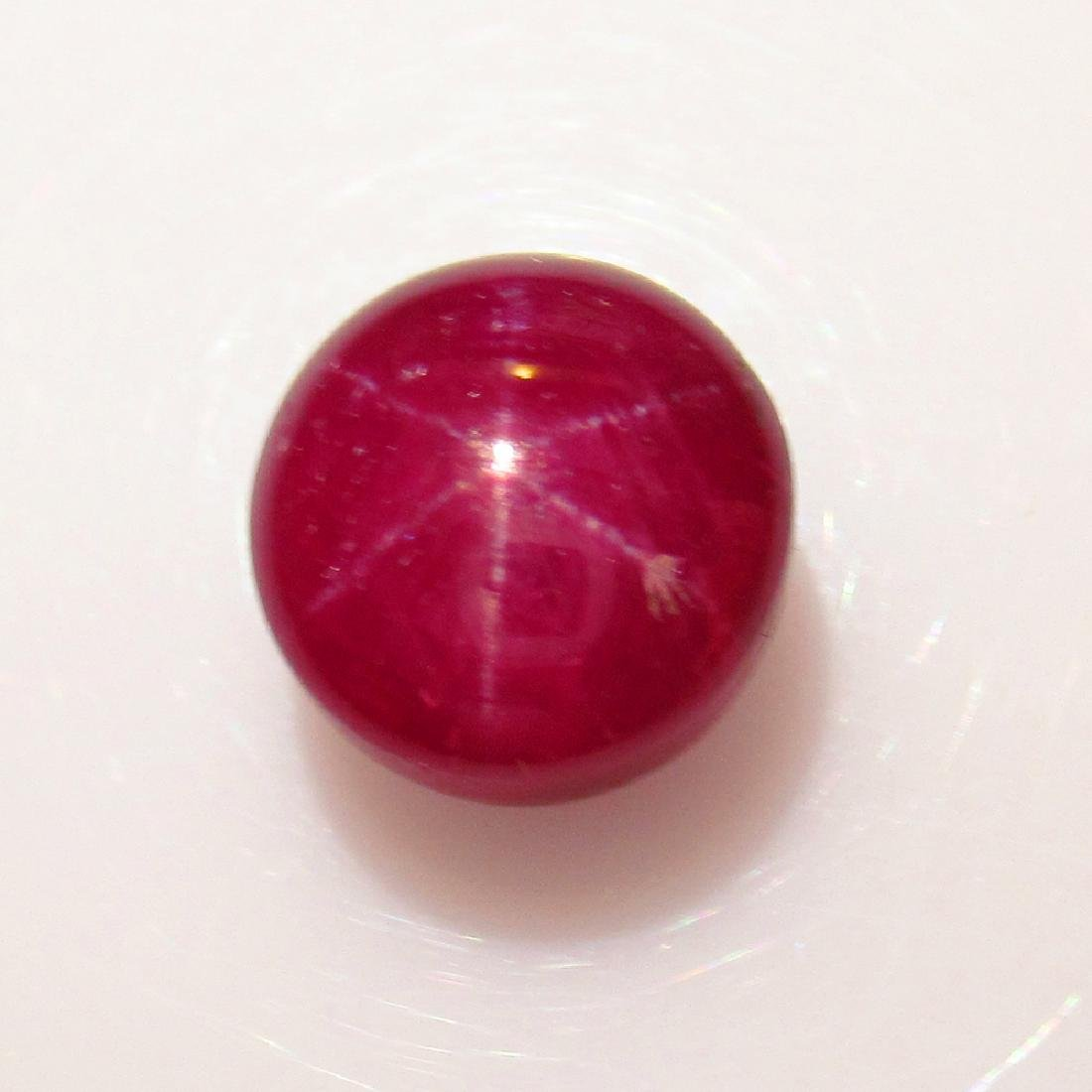 5.97 Ct Genuine Six Line Star Ruby 9 mm Round Cab