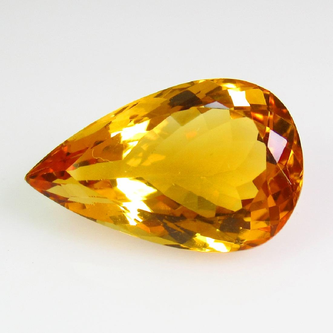 7.60 Ct Genuine Madeira Brandy Yellow Citrine Pear Cut