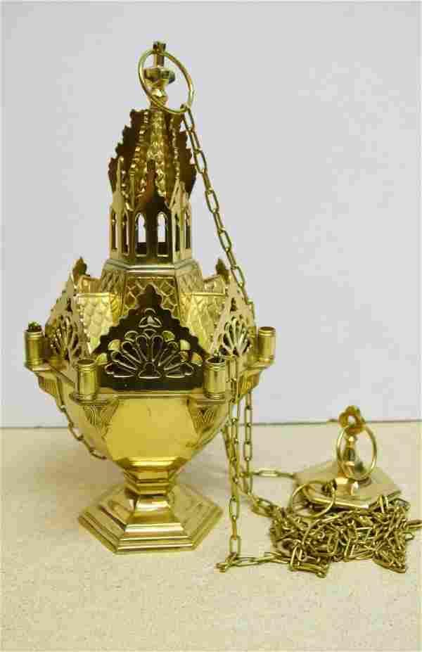 Ornate Gothic Brass Church Censer Thurible Triple Chain