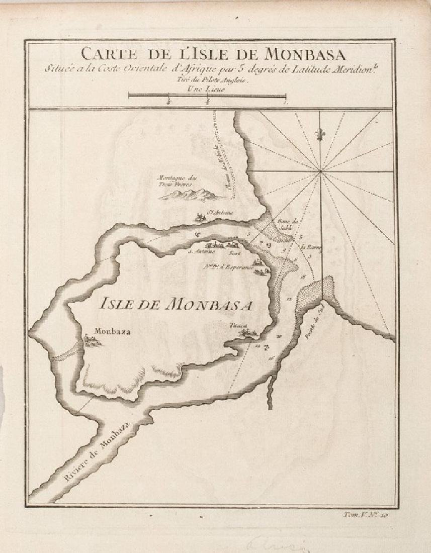 1748 Bellin Map of Monbasa -- Carte de l'Isle de