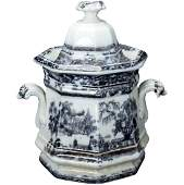 English Victorian Staffordshire Transferware Sugar Mid