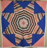 1910's Lone Star Sunburst Antique Quilt