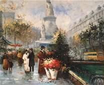 Paris Flower Market, Impressionist Cityscape, Oil