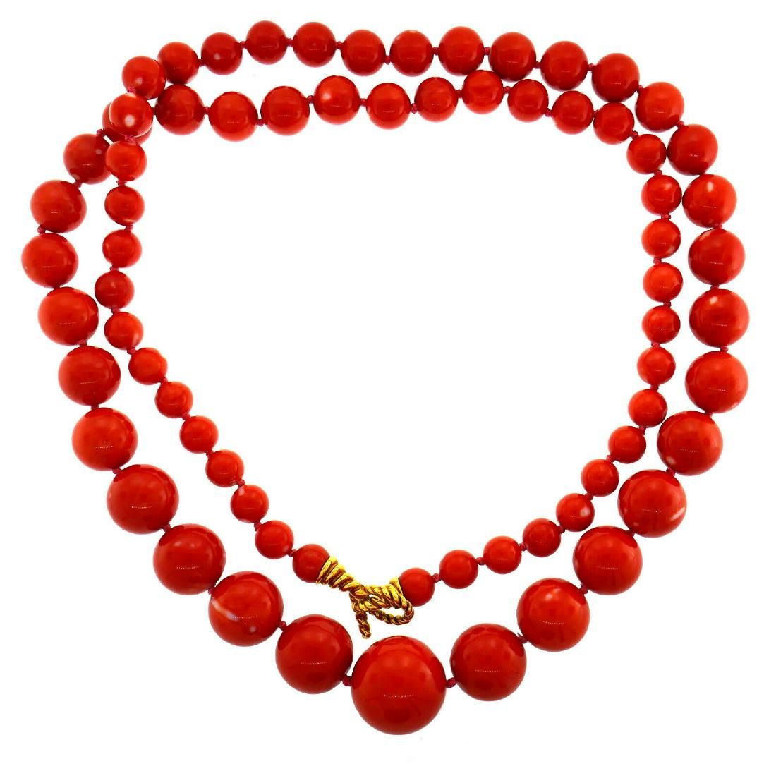 TIFFANY & Co. Mediterranean Coral Bead Gold NECKLACE