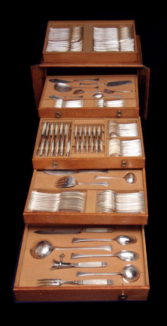 SAVARY - FRENCH ART DECO STERLING SILVER FLATWARE SET,