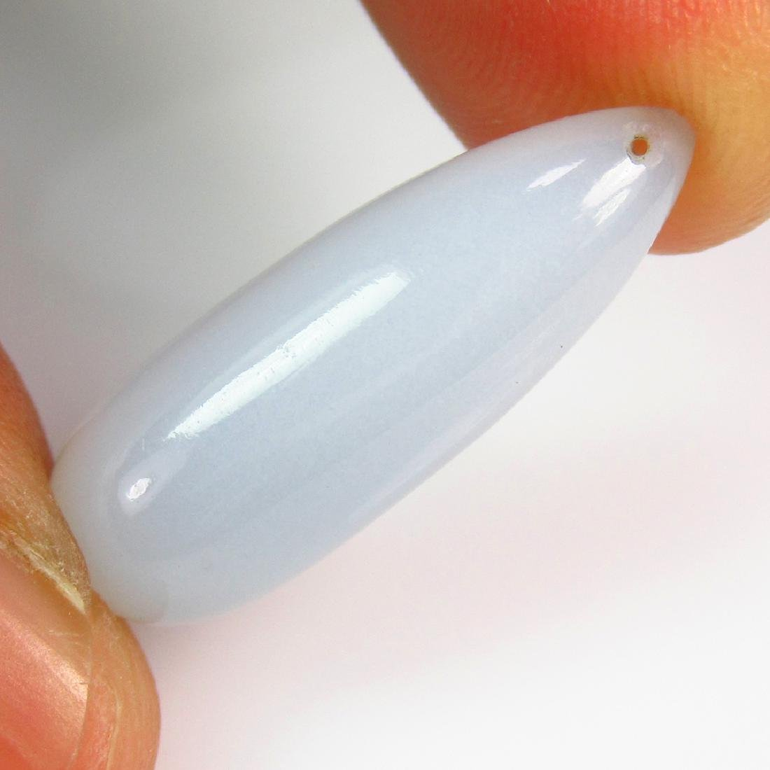 11.29 Ctw Natural White Chalcedony Drilled Pear Drop
