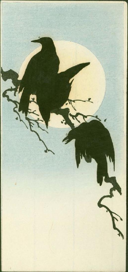 Shoda Koho Japanese Woodblock Print - Three Crows and