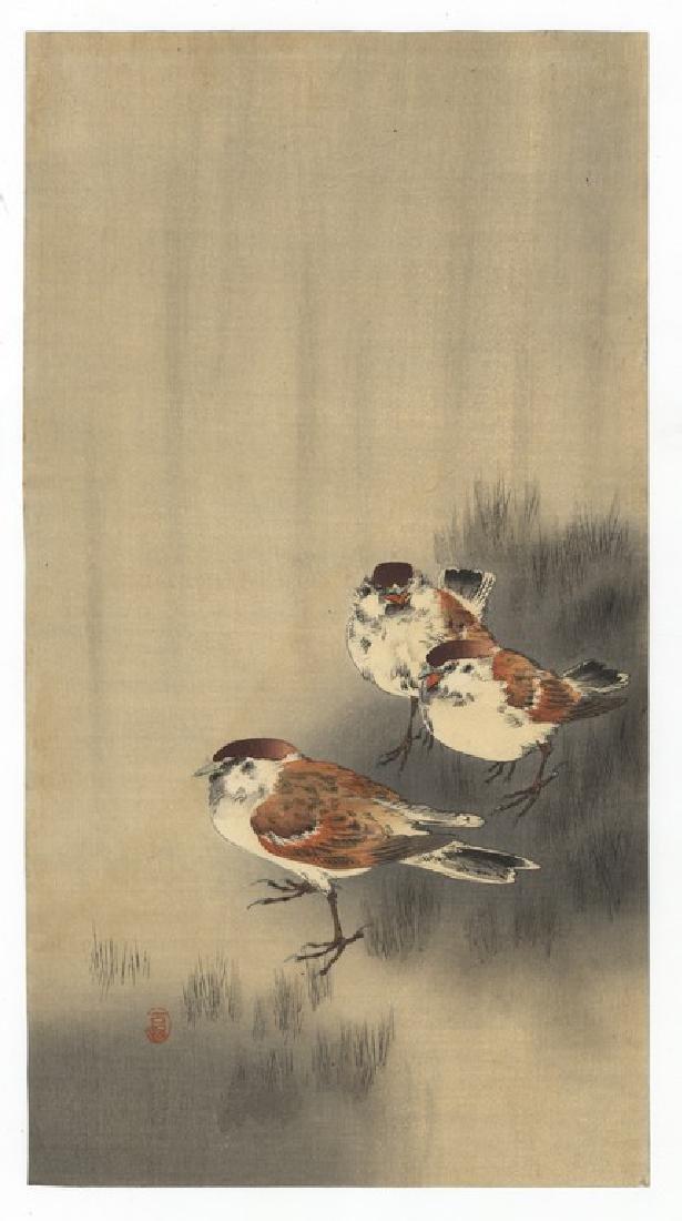 Koson Ohara (1877-1945): Three Tree Sparrows in a Rain