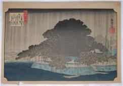 Utagawa Hiroshige: Nightly rain on the old pine of