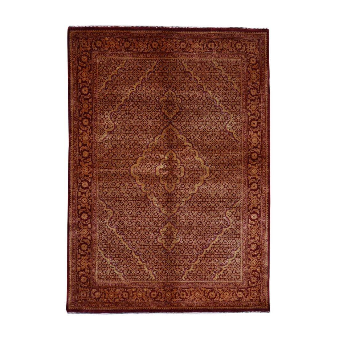 Wool and Silk Tone on Tone Tabriz Mahi Hand Knotted