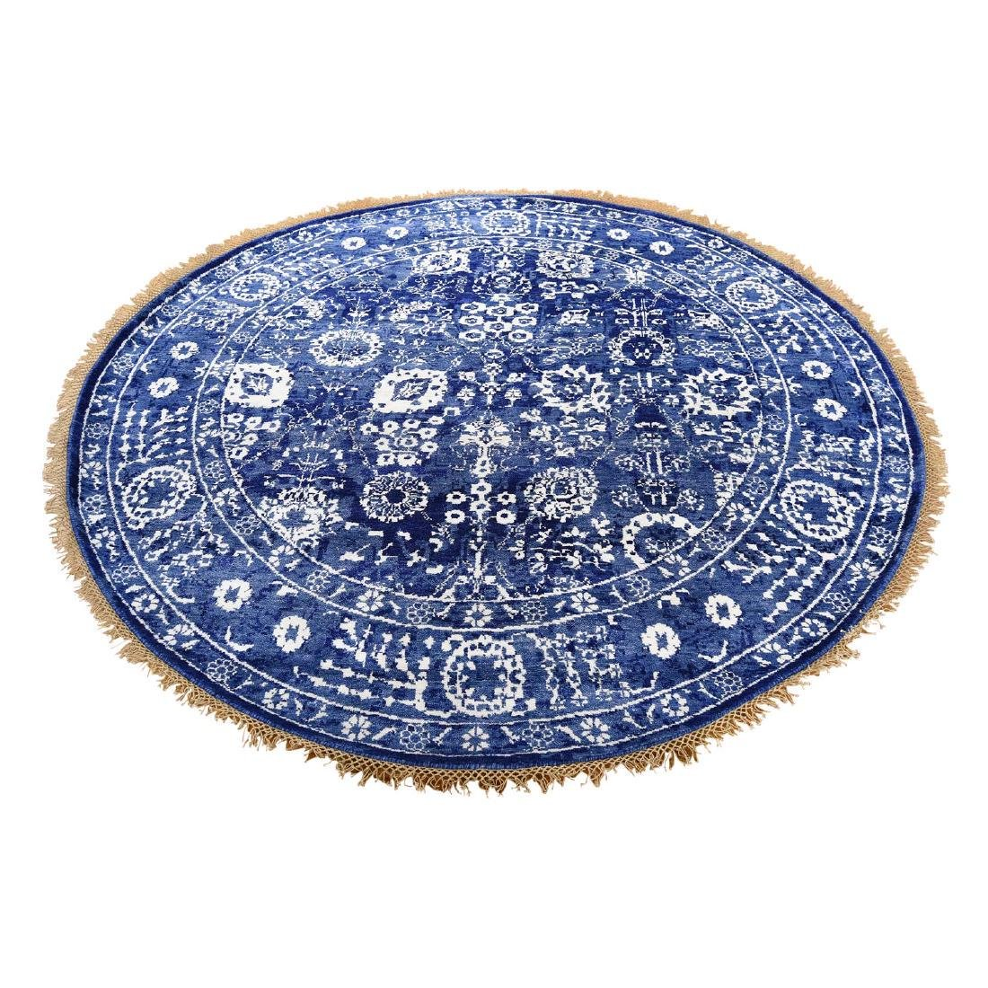 Hand-Knotted Tabriz Tone on Tone Round Wool and Silk