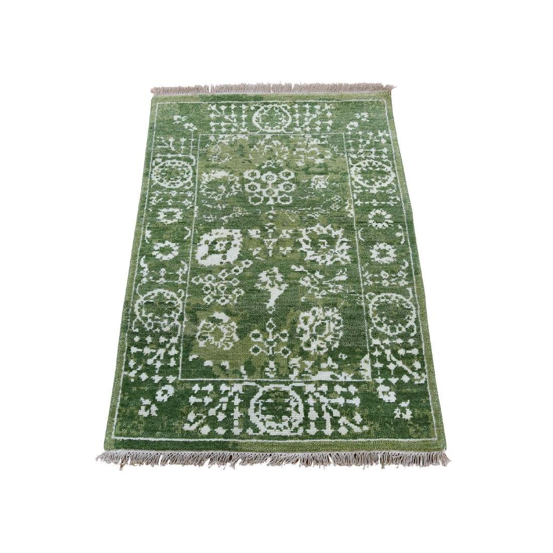 Wool and Silk Tabriz Hand-Knotted Tone on Tone Oriental