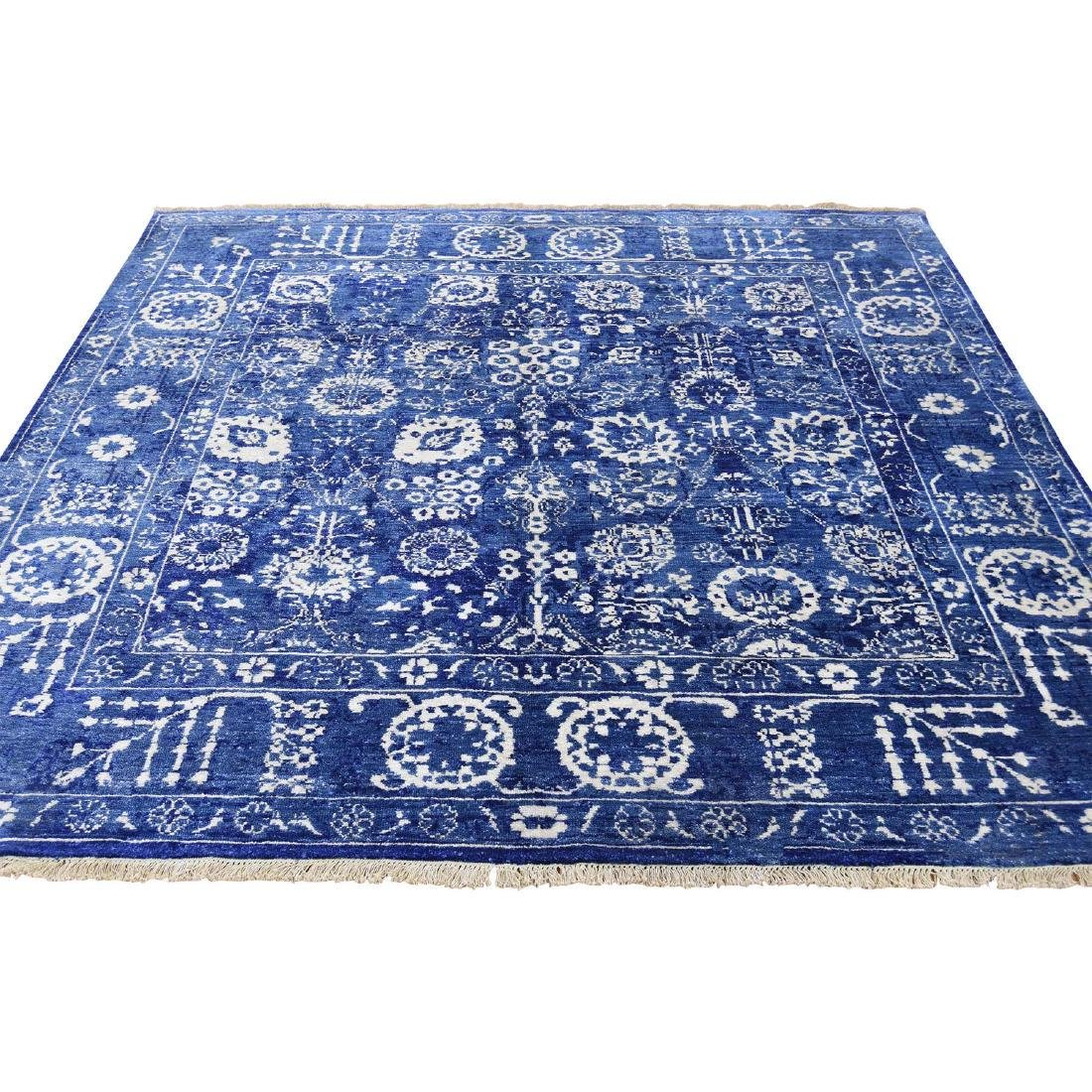 Hand-Knotted Wool and Silk Square Tone on Tone Tabriz