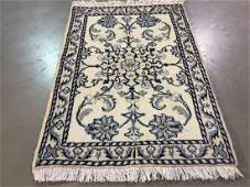 AUTHENTIC SILK  WOOL NAIN RUG 2x3
