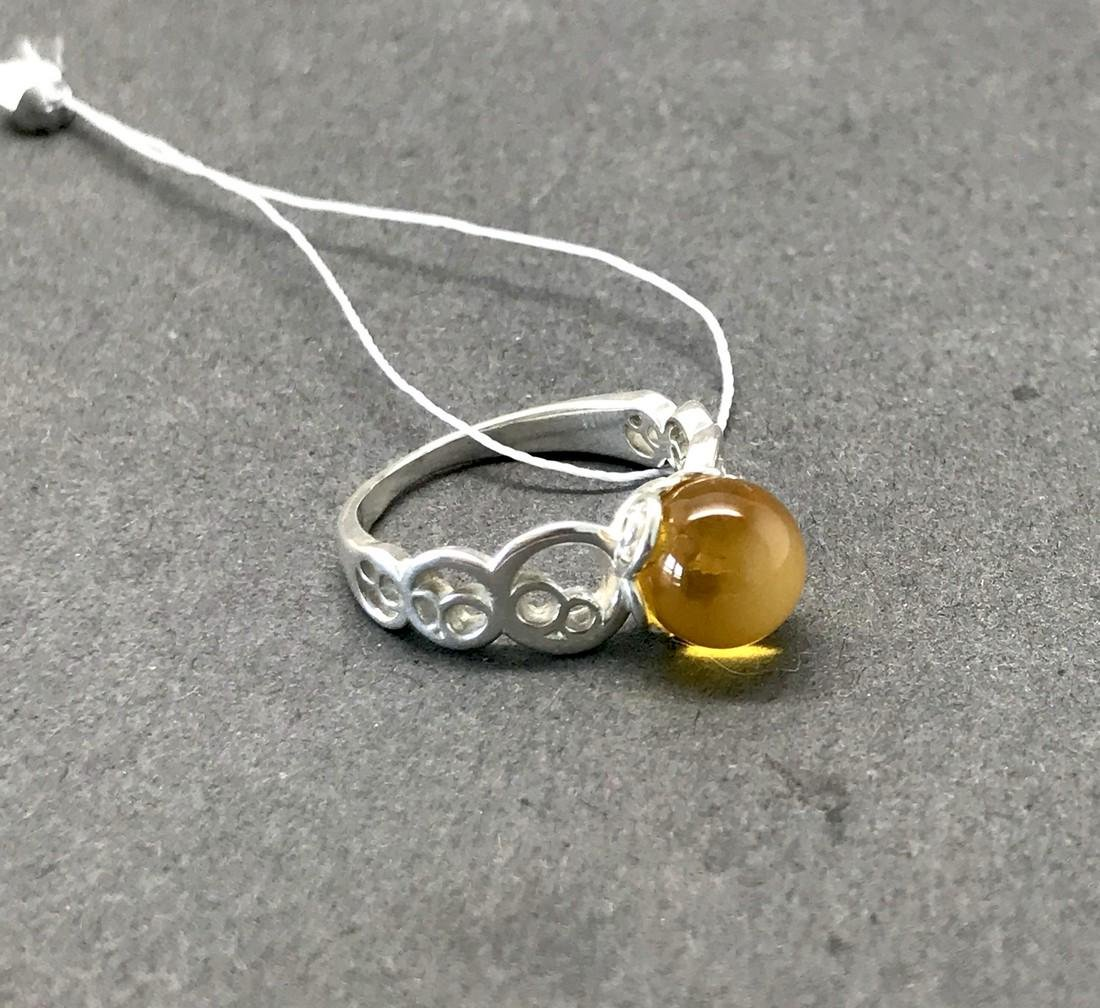 Sterling silver ring with Baltic amber, seal