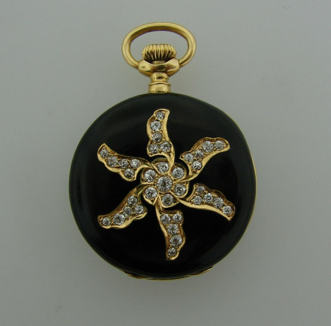 1900s Victorian DIAMOND ENAMEL YELLOW GOLD POCKET WATCH