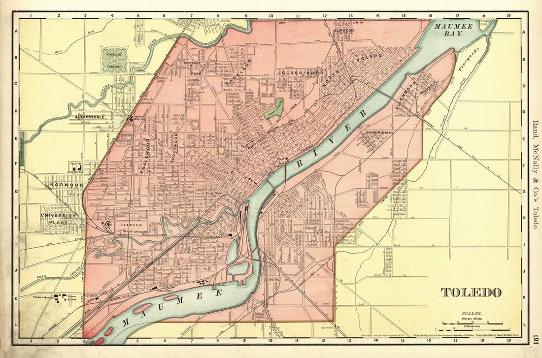 Toledo  Rand, McNally & Co 's New Business Atlas Map of