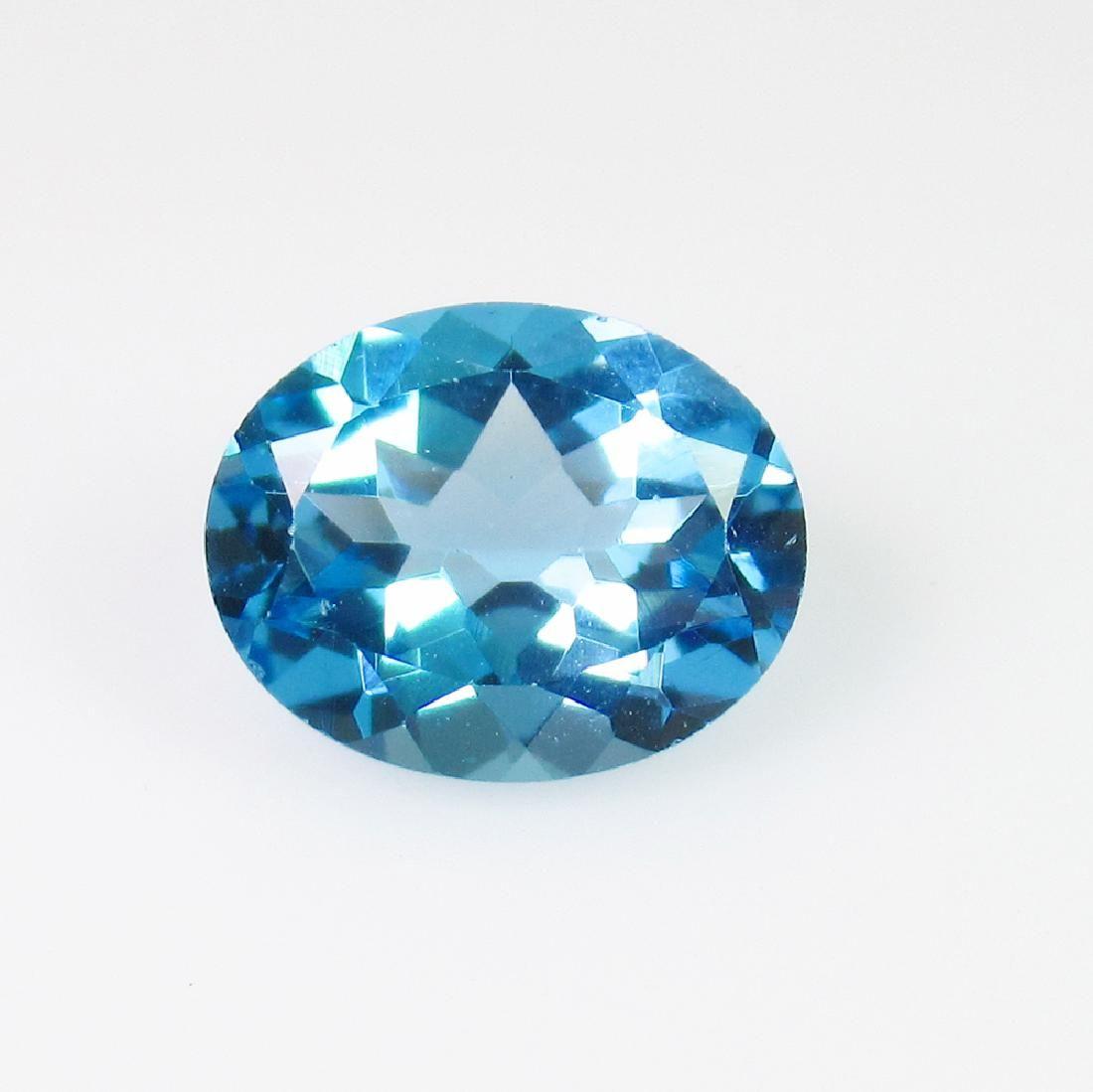2.96 Ct Genuine Blue Topaz 10X8 mm Oval Cut