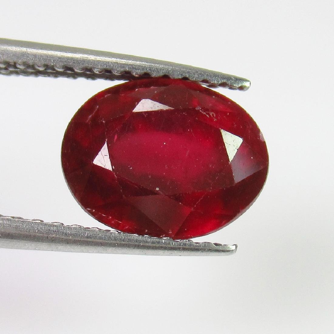 3.17 Ct Genuine Mozambique Red Ruby Oval Cut