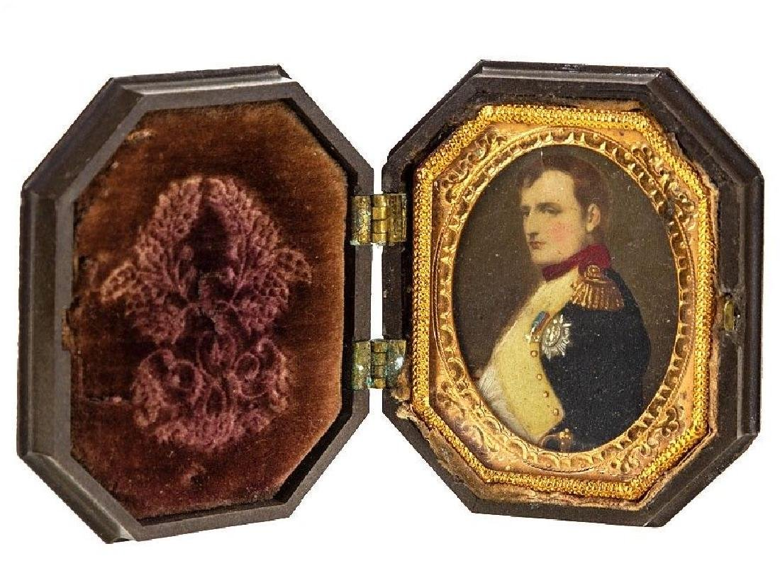 c1870 French Gutta Percha Plastic Case with Napoleon