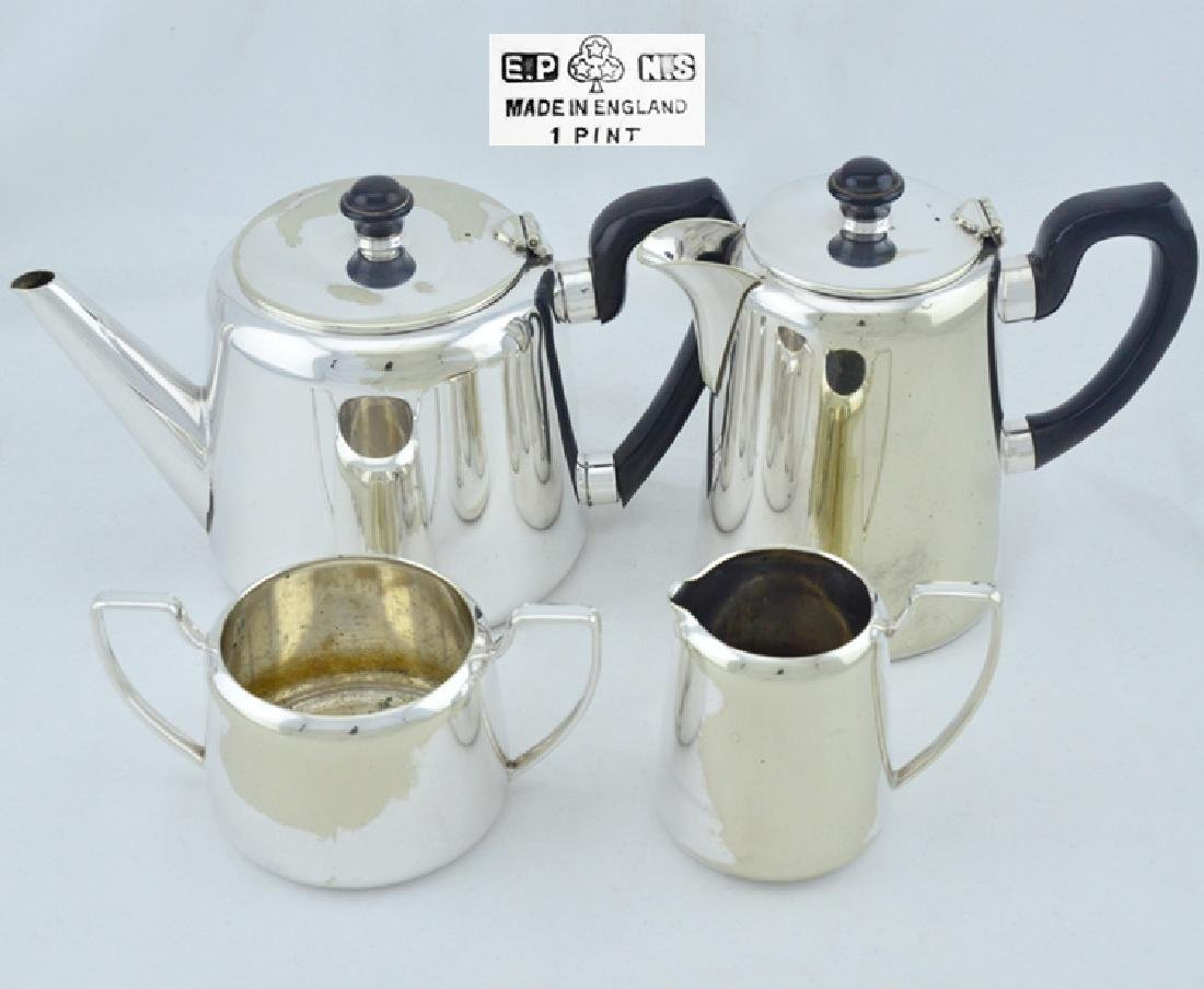 Teapot Kettle 4 Piece Set Silver Plated Copper